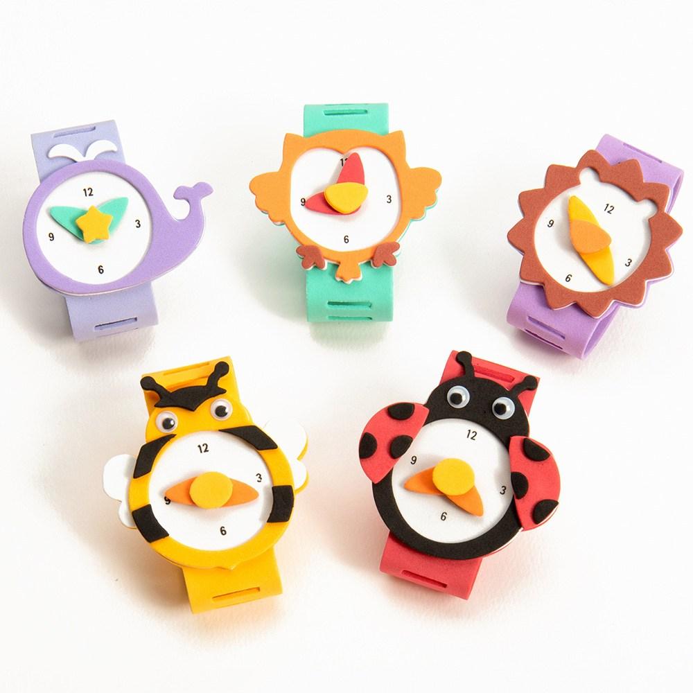 [마리모아] 손목 시계 만들기 세트 EVA 스티커 장난감 미술 놀이 교재 유아 어린이 키즈 아동 유치원 어린이집 꾸미기 재료 diy 패키지 단체 행사 교구 키트 체험 수업 활동, EVA시계:부엉이