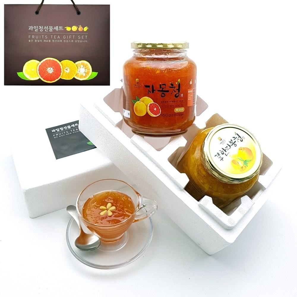 [ 과일청 수제청 선물세트 ] 자몽청950g +제주 한라봉청950g, 1set