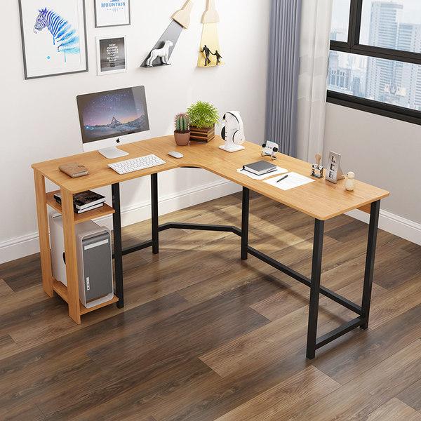 고급 사무용 주식 L자형 책상 넓은 코너 컴퓨터 데크스탑, 레드 티크