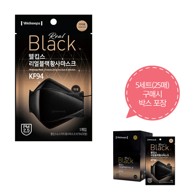 웰킵스 리얼블랙 KF94 황사 마스크 대형 사이즈, 5매