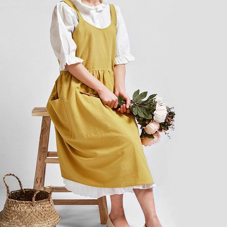 리스테이 내츄럴 린넨앞치마 4colors(꽃 요리 미술 카페 공방 매장), 머스터드, 1개
