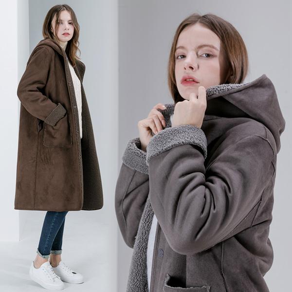 여성 무스탕 코트 [클리어런스 세일] 앙스블랑 천연 양털 루즈핏 리버서블 후드 롱코트 911