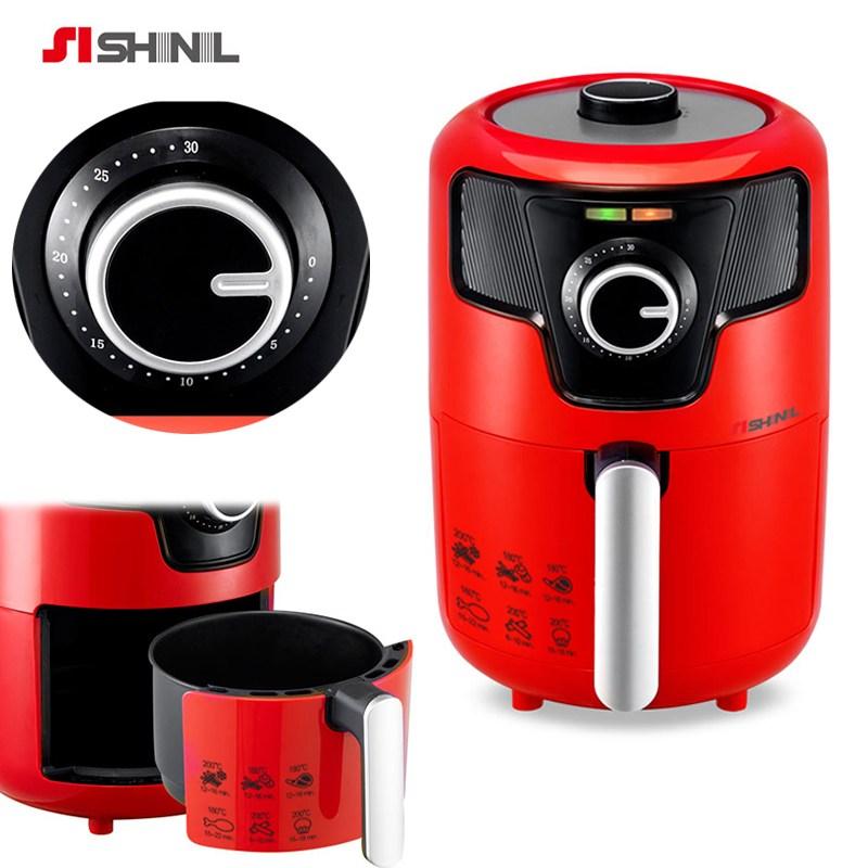 SHINIL 에어프라이어 튀김기 1.6리터 튀김통 분리 열기순환방식, 레드(320RWS)