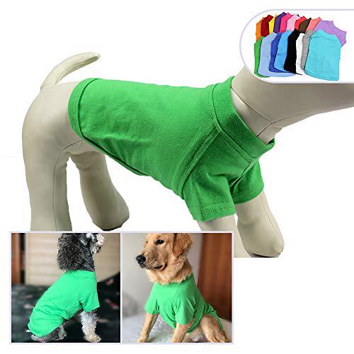 2018 애완 동물 의류 개복 빈 티셔츠 티셔츠 중소형 중형견 용 100 % 코튼 개 티즈 클래식 (S 그린) 2018 Pet Clothing Dog Clothes Blank T, 1set