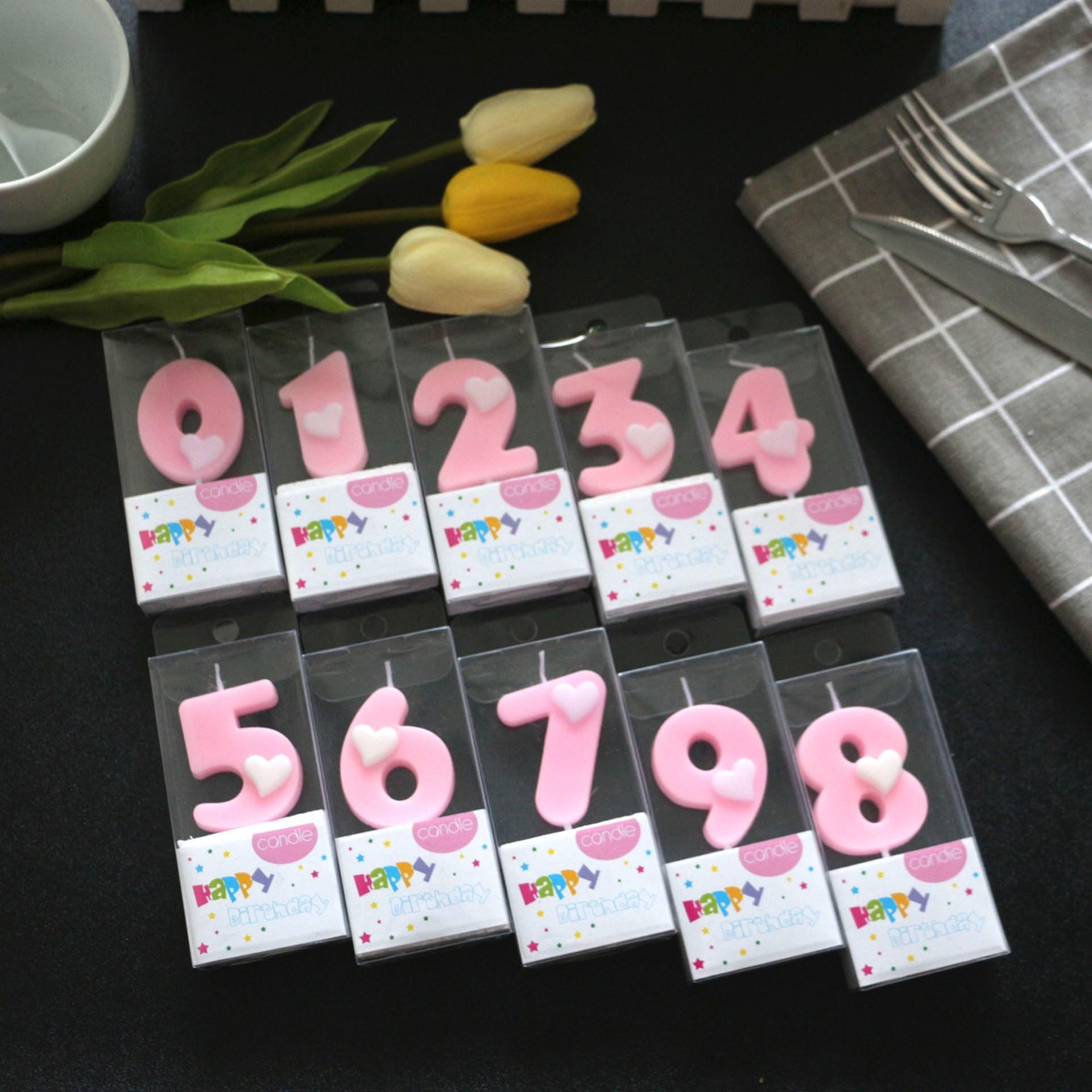파티피플 하트숫자초(핑크), 1개, 핑크1