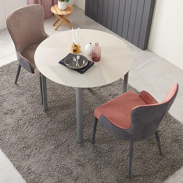 [가구야놀자] 천연 세라믹 엘리 원형 2인 4인 식탁 세트 의자 포함 구성, 모자이크_2인용