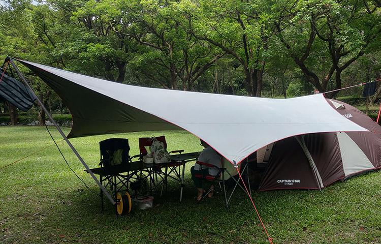 여름 캠핑 블랙코팅 자외선차단 6x5m 대형 헥사타프, 올화이트-6x5m