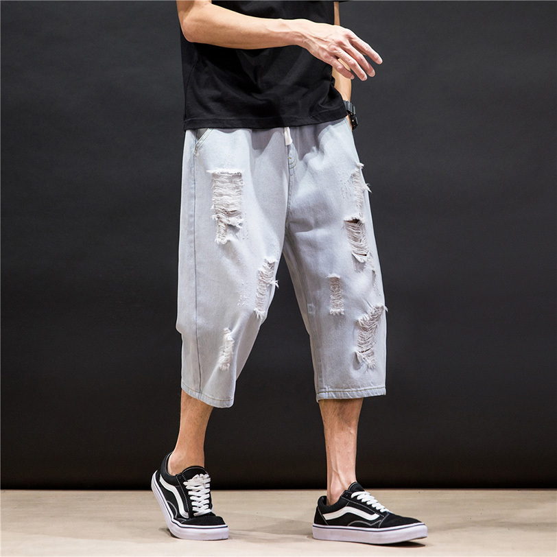 남자와이드팬츠 구멍 O청바지 남성여름옷 트렌디한브랜드 ins거지 7부바지 일본스타일 루즈핏 스트레이트팬츠 캐주얼 와이드팬츠 무릎길이바지