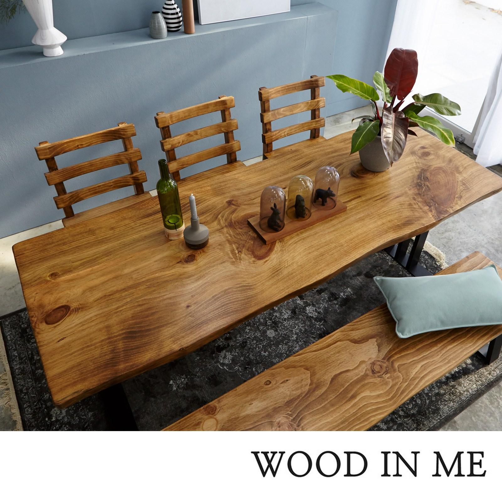 우드인미 통원목 에코 6인용식탁 세트B 1800_w700_New (의자포함) 원목식탁 우드슬랩 카페테이블 식탁세트, 도토리색