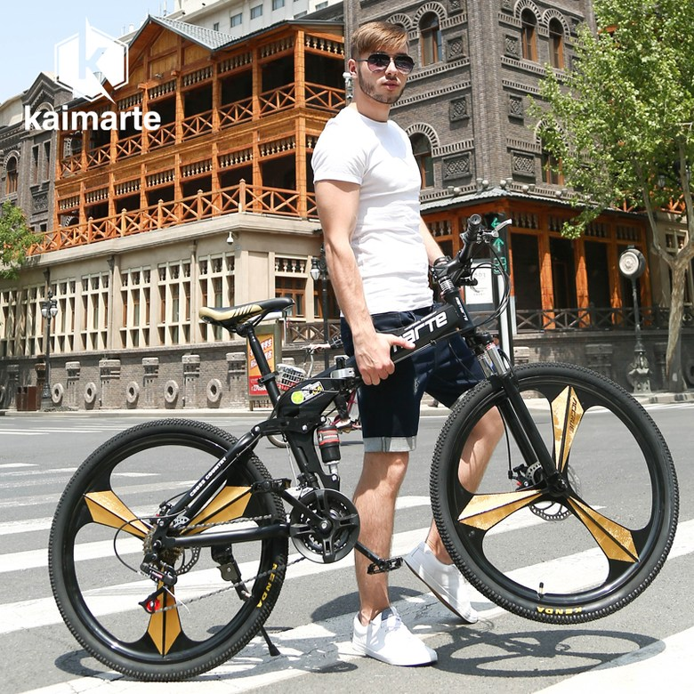30단 기어변속 MTB 칼마르테 KAIMARTE 산악 자전거 자동 입문자용, 26 인치cm, 블랙 Kmart 폴딩 3칼 + 27 속도