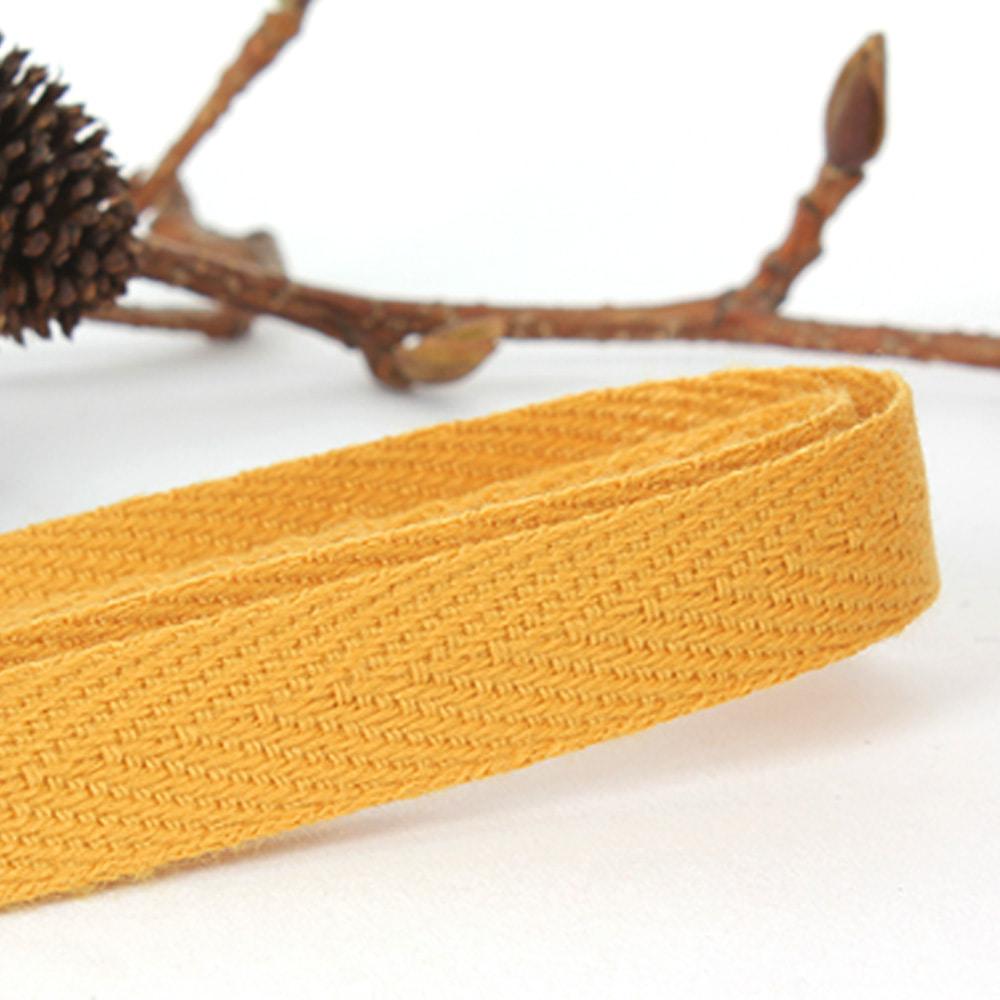 헤링본 끈 10mm (겨자엘로) 마스크목걸이 -1마 90cm