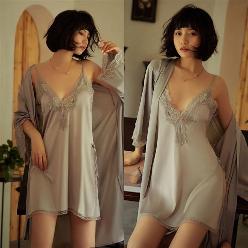 똑소녀 옆트임 리본레이스 실크 섹시슬립 가운 세트 여름 잠옷