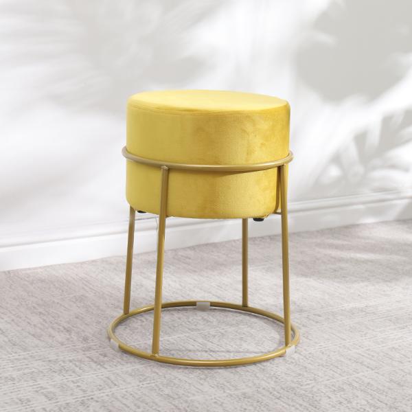 상세 페이지 참조 이케아 골드 메이크업 화장대 풋 스툴 의자, 옐로우+골드 레그