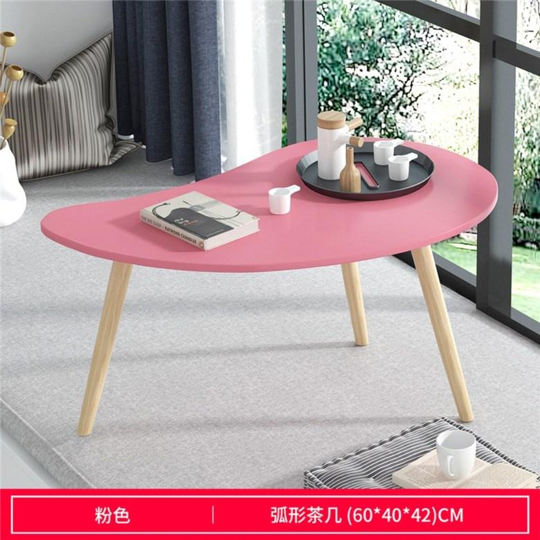 화이트 우드 미니 카페 테이블, 【초승달 모양】 핑크 60 * 40 * 42cm