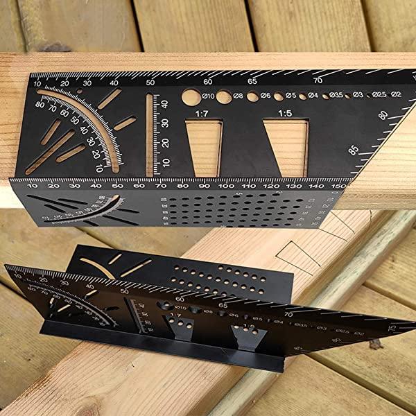 [미국] Aluminum Alloy Woodworking Square Size Measure Ruler - 3D Mitre Angle Measuring Template Tool -