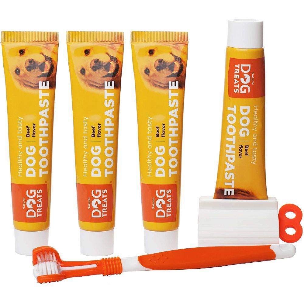 Natural Dog Treats 자연 개 취급 칫솔과 개 쇠고기 맛 치약 4X 치약 키트 제거합니다 잇몸 및 치아 건강, 상세페이지참조, 4x Beef Flavour Toothpaste + Toothbrush