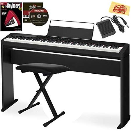 Casio Privia PX-S1000 디지털 피아노-CS-68 스탠드가있는 검은 묶음 조절 식 벤치 서스테인 페달 설명, One Color