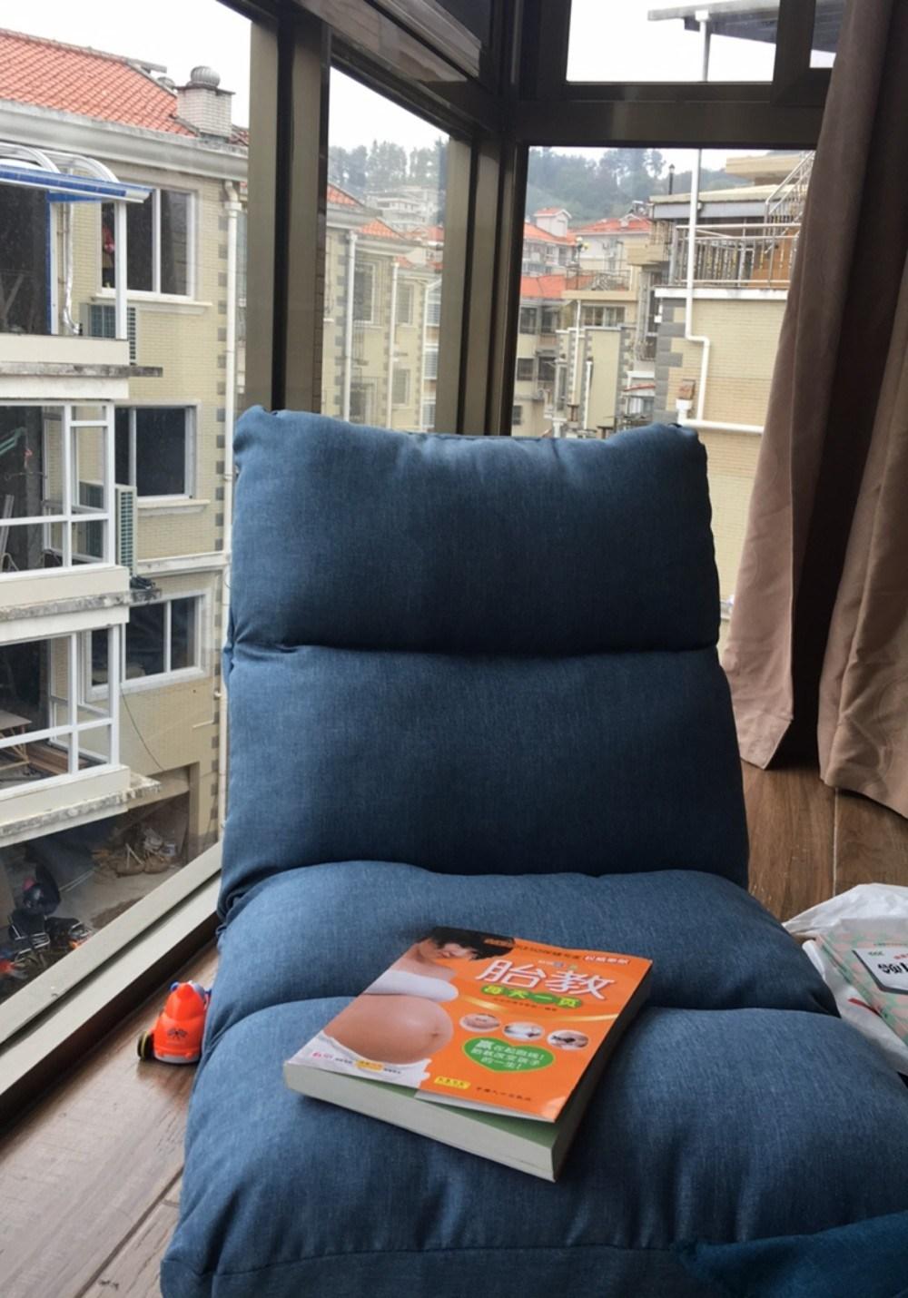 좌식 의자 다다미 여름방학좌식의자 기숙사 침대 등받이 접이식 게으른 소파 안락 의자, 네 그리드 하늘색 두꺼워