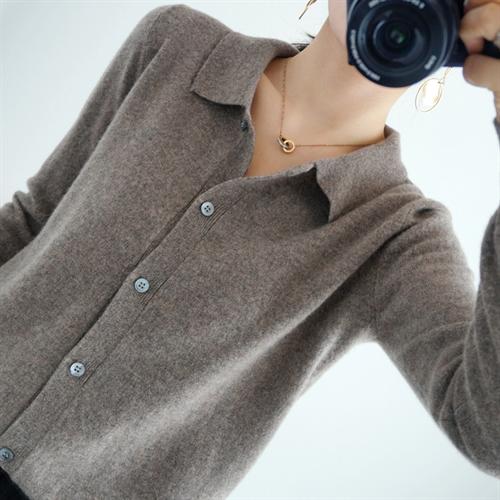 여성 캐시미어 가디건 100 % 순수 모직 셔츠 니트 카디건 짧은 숲 스웨터 버전 코트 봄