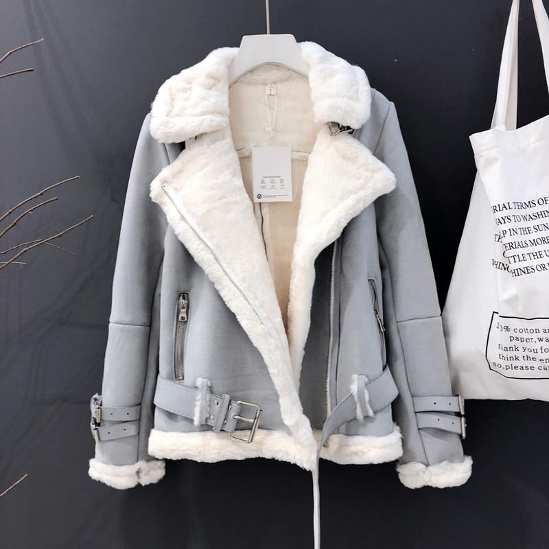 여성용 가을 무난한 무스탕 자켓 R9U2908