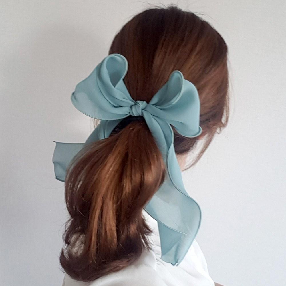 리본크림 [핸드메이드]롱롱 웨이브 스카프 리본 머리끈 포니테일 4color