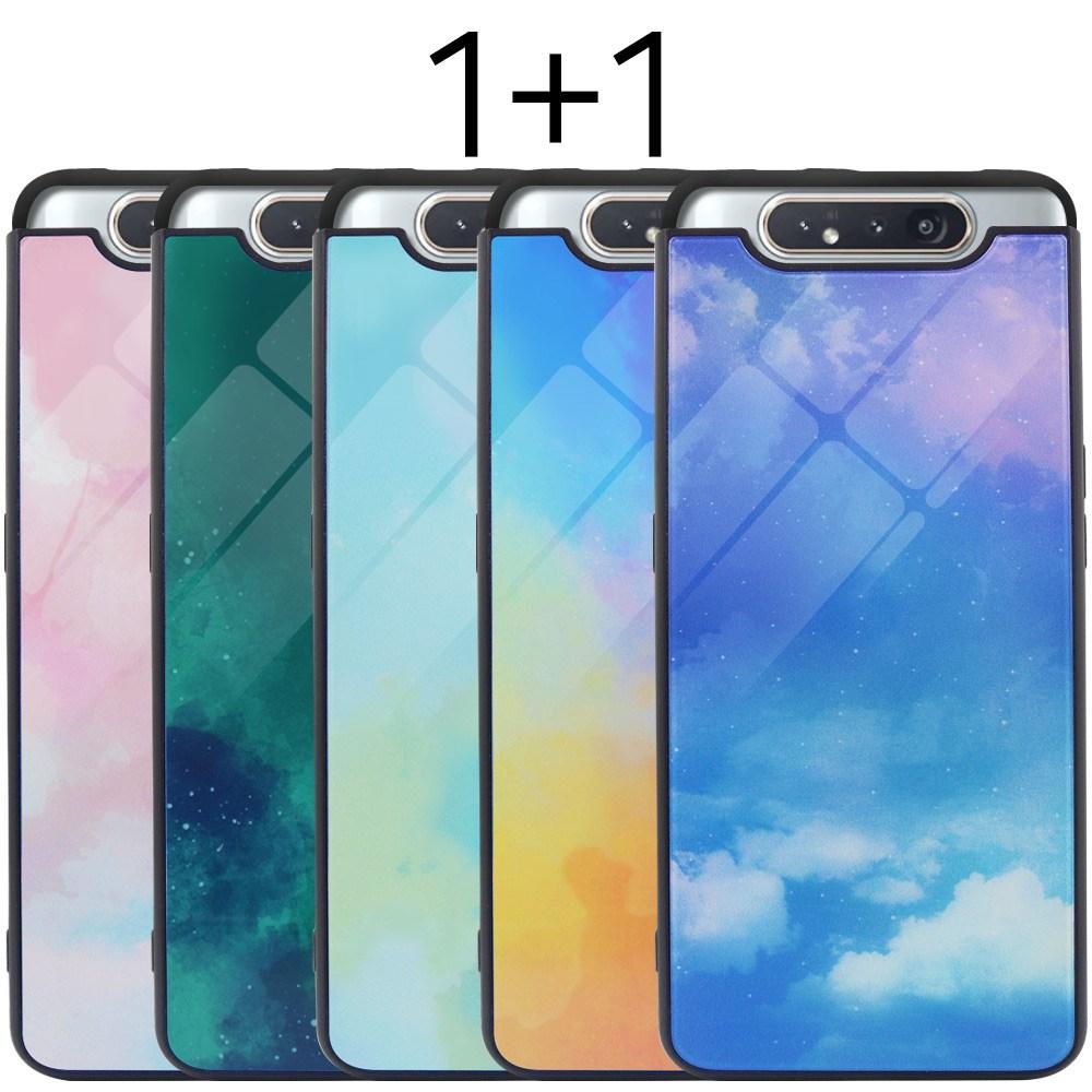 더조은셀러 1+1 갤럭시A80 포시즌 강화유리 케이스 A805 글라스 방탄 휴대폰