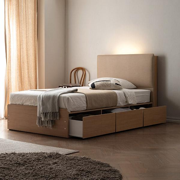 삼익가구 프레뉴 슈퍼싱글/퀸 LED 프리미엄 수납 호텔 침대 + 7존 독립 매트리스 포함, 01. 슈퍼싱글;베이지+오크