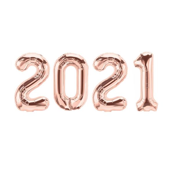 고백하는날 헬로 2021해피뉴이어 새해 신년해 컨페티풍선 은박풍선세트, 1세트, 13.로즈골드2021 은박풍선세트