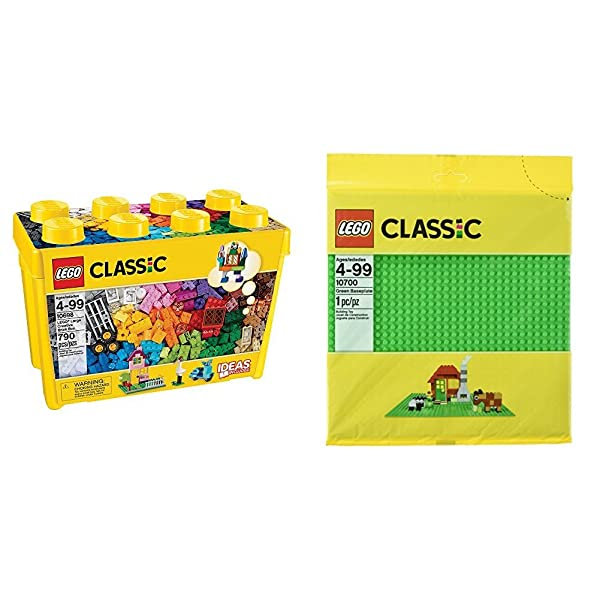 LEGO Classic Large Creative Brick Box 10698 with LEGO Classic Green Baseplate Supplement Bundle