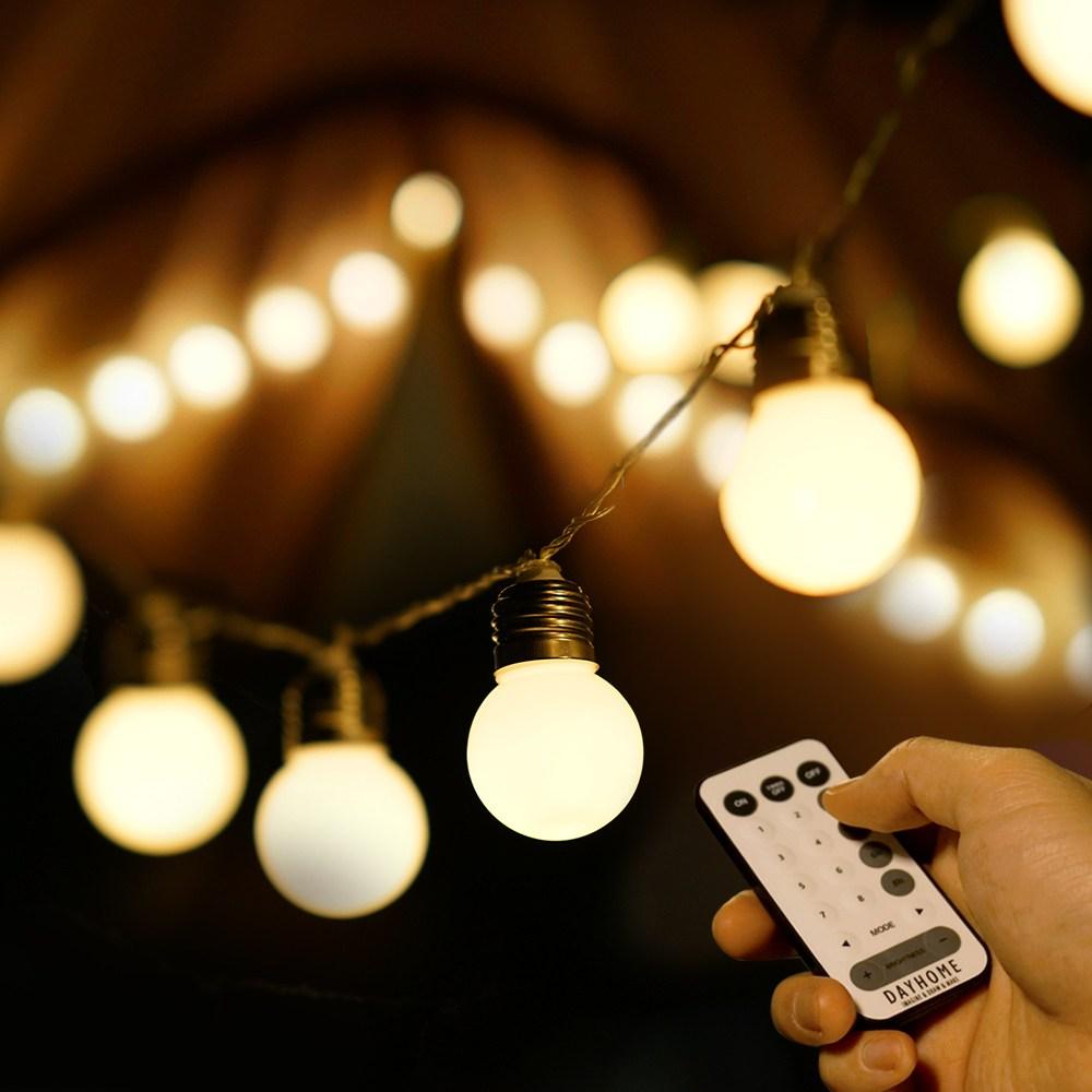 데이홈 더큰 LED 스마트 앵두전구 대형 소켓 + 리모컨, 웜화이트