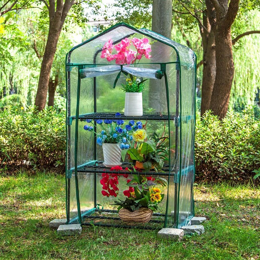 greenhouse 조립식비닐하우스 미니비닐하우스 소형 베란단 비닐하우스 다육이[3단 PVC투명커버]