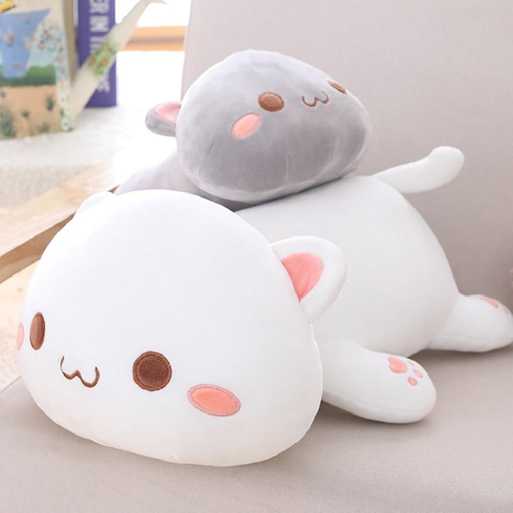 (1+2) 포근하고 말랑말랑한 안고자는 작은 고양이 동물 인형 모찌모찌꿀잠쿠션, 화이트(초롱), 30cm
