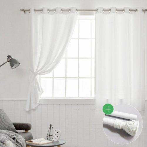 [텐바이텐] 화이트 창문 암막커튼2장+봉세트, 화이트 세트