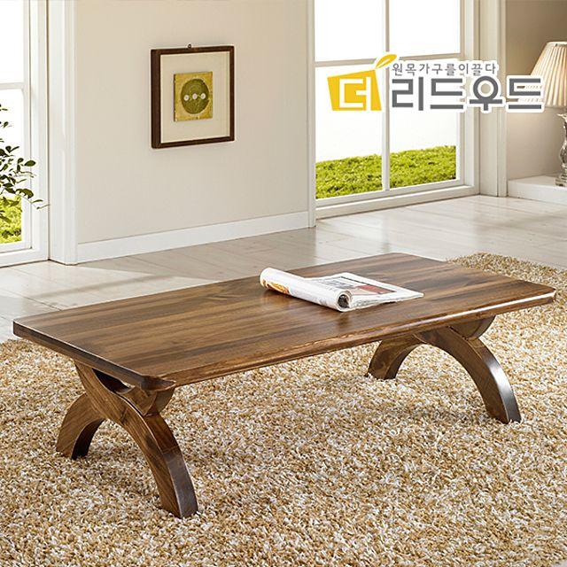 거실 테이블 확장형 기능성 베란다 4인 1인 2인 6인 원형 좌식 입식 원목 나무 티 좌탁 통 라탄, 월넛
