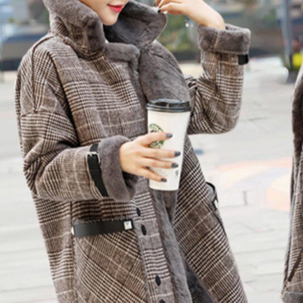 체크무스탕 모직코트 정장 캐쥬얼 중간길이 양털 코트 점퍼 자켓