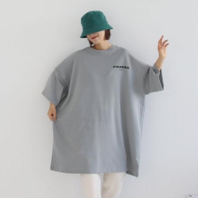 애플망고샵 빅사이즈 피카소 오버핏 롱박스 여성간절기 반팔 박스티셔츠