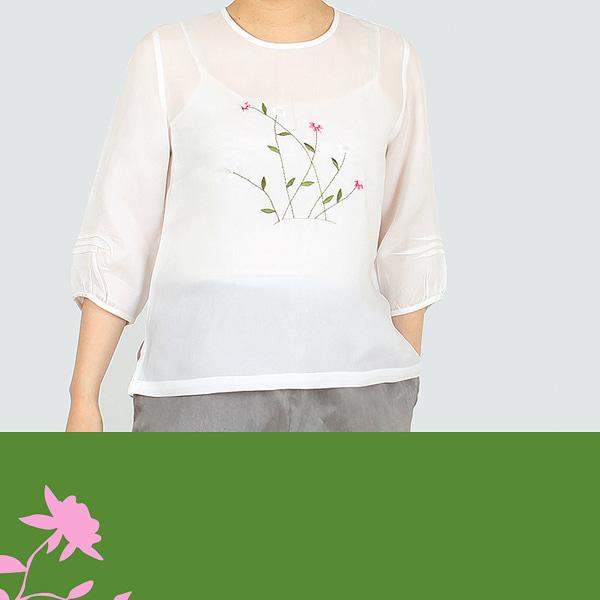 2863여성 여름 들풀인견블라우스 생활한복 개량한복