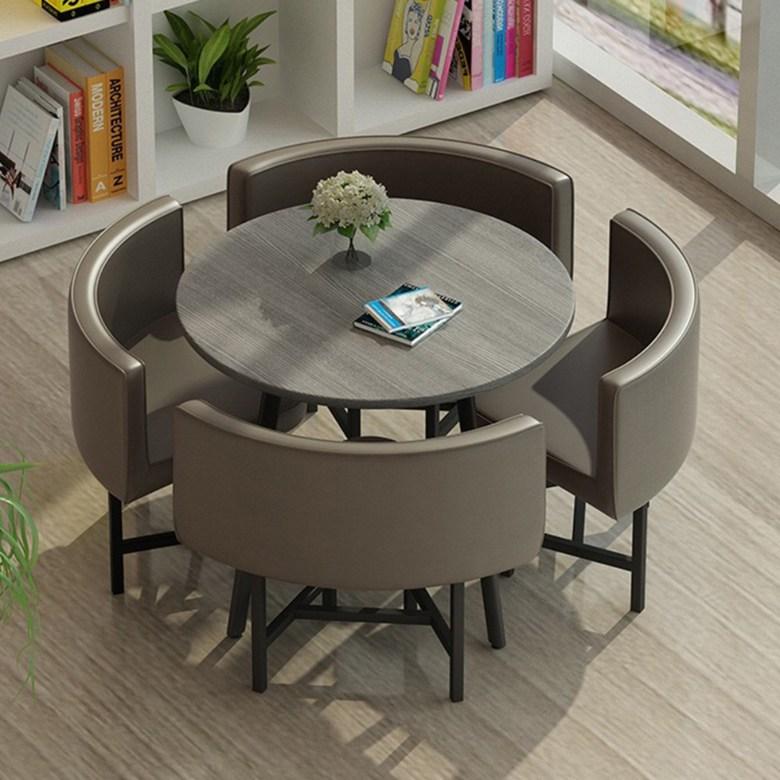 북유럽 미니멀 인테리어 카페 사무실 거실 4인용 테이블 의자 세트 원탁 상담 원목, 이미지 타입 A4