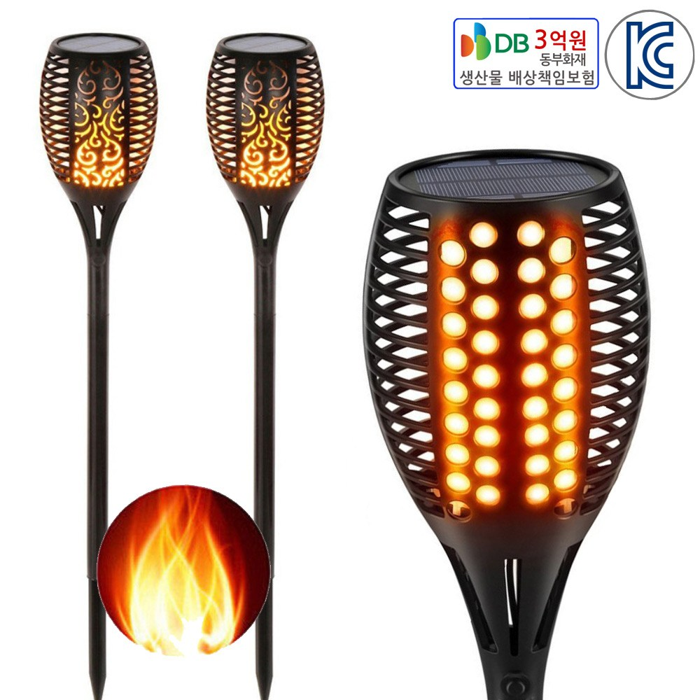 [JS] 태양광 LED 횃불정원등 활활타오르는 불꽃, 블랙