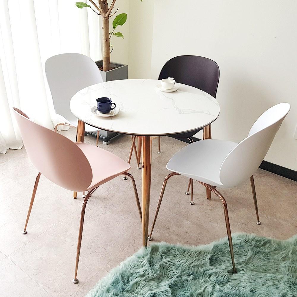 플레르가구 아르젠 원형 세라믹 원룸 미니 공간활용 4인용 식탁, 02. 아르젠 원형 테이블(단품) / 로즈골드