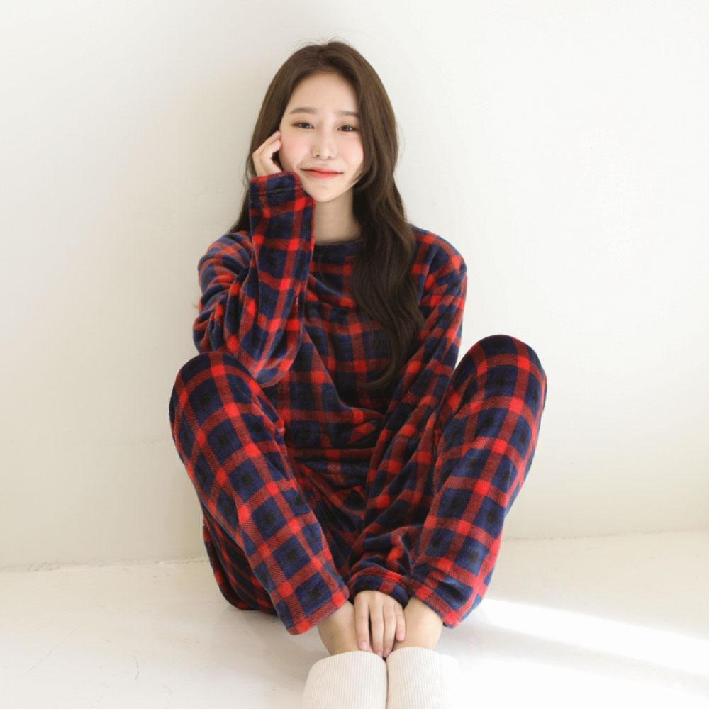 여자 수면잠옷세트 윈터체크