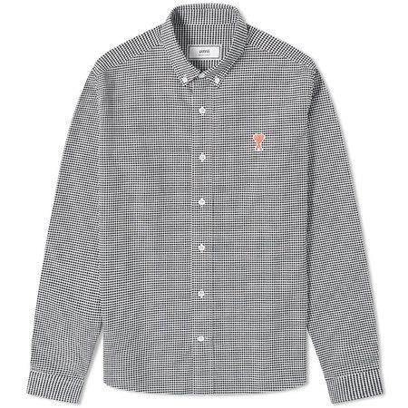 [멸치쇼핑][아미] 남성 하트로고 옥스포드 셔츠 (화이트블랙) A20HC013.402 101