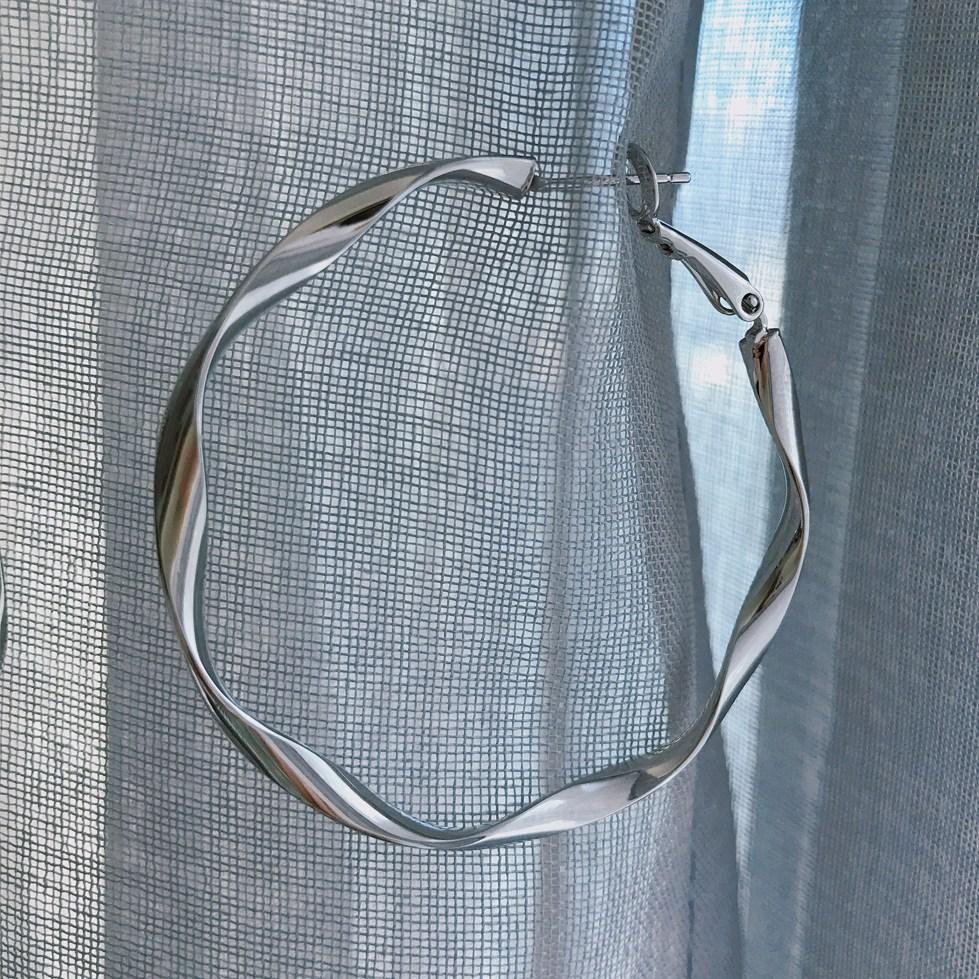 뿌앙 은침 92.5 물결 웨이브 원터치 실버 링 귀걸이