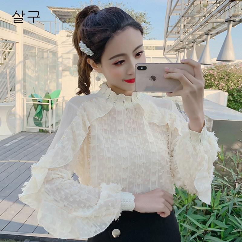 MOLY 여성 봄 순색 벌룬소매 쉬폰 블라우스 J431