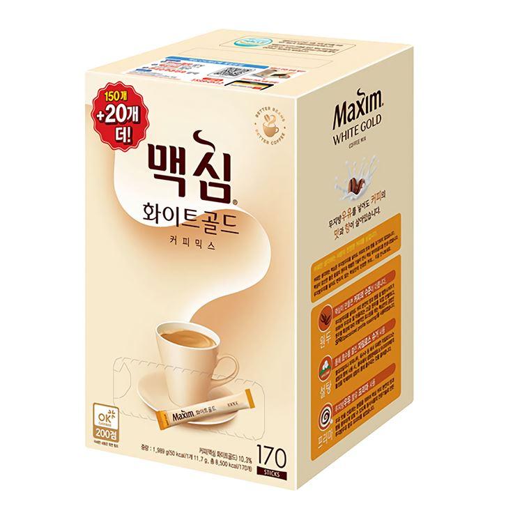 [동서 정품] 맥심 화이트골드 170T[1통] [6통] 340T 모음 무지방우유 자일로스 설탕 책임가격-책임포장 및 배송, 170개, 12g