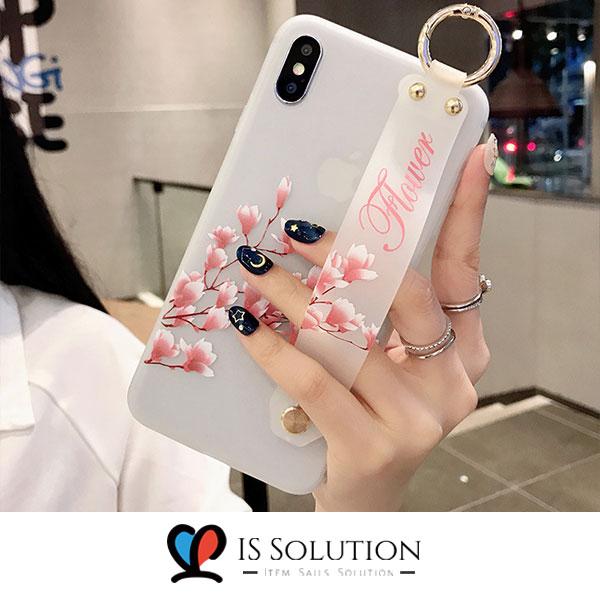 잇템갤럭시 S 10 9 8 플러스 lite 노트10 9 8 플러스 꽃 스트랩 실리콘 핸드폰 범퍼 스탠드 거치대 휴대폰 슬림 TPU 슬림