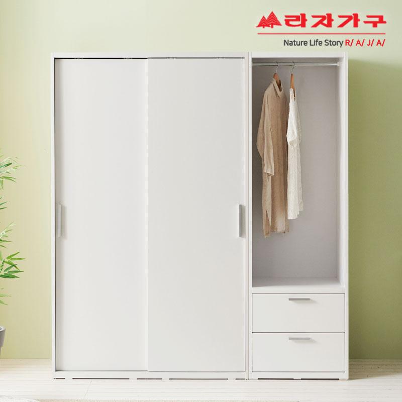 라자가구 위드 빅 1800 슬라이딩 옷장+서랍행거장 jy219 옷장세트, 화이트화이트