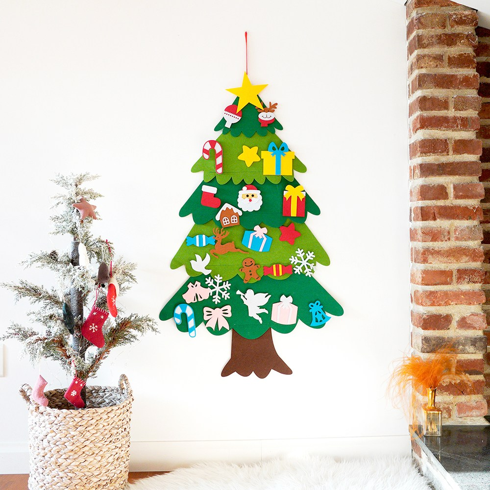 크리스마스 펠트 벽 트리 만들기 세트 트리 꾸미기