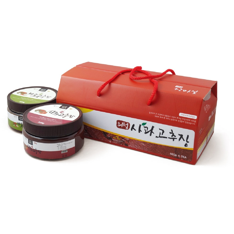 가을빛고운의성장마실 사과고추장500g+마늘고추장500g 가로형 셋트상품