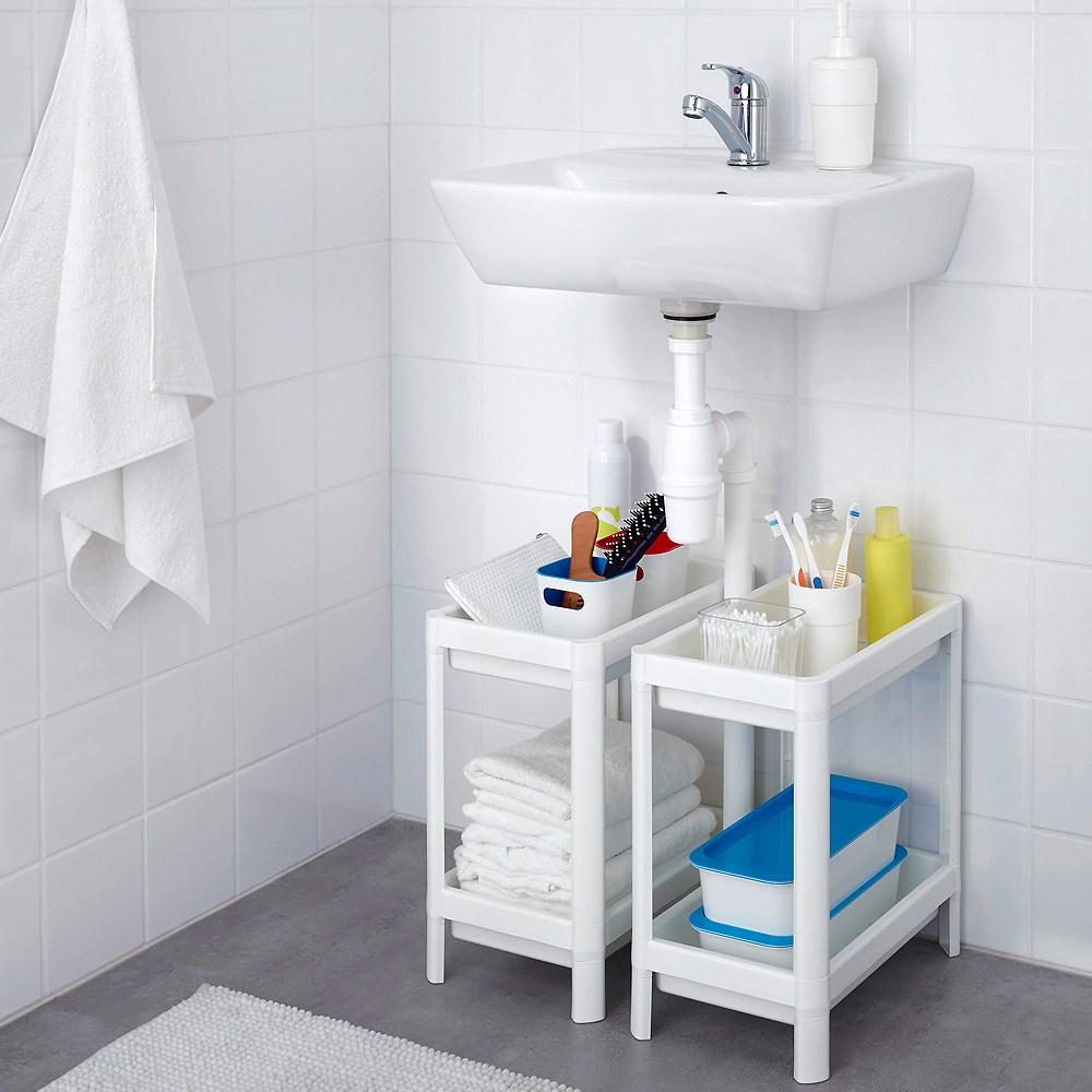 IKEA 욕실선반 2단선반 수납장 주방선반 수납선반, 1개, 블랙